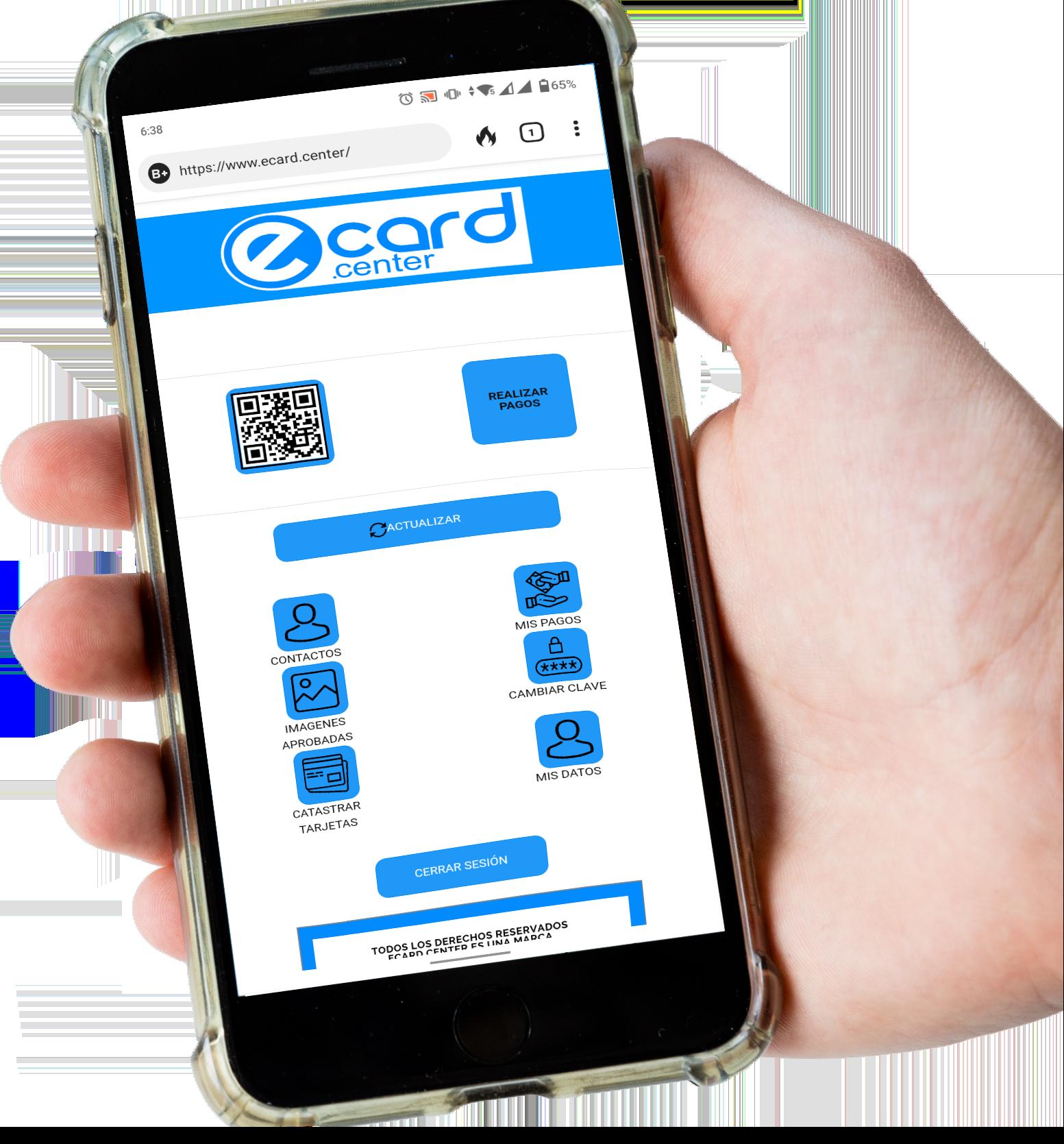 ecard phone hand